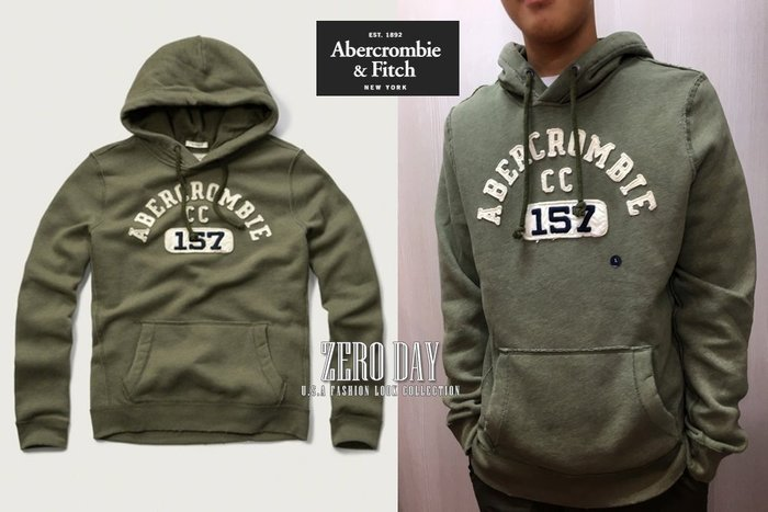 A&F Abercrombie&Fitch Applique Logo Graphic Hoodie徽章貼布連帽T-軍綠