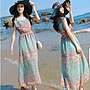禮服 碎花裙 海邊風 波西米亞 背心長裙  雪紡洋裝 無袖洋裝度假沙灘裙西米亞長裙 MC009.6612 胖胖美依