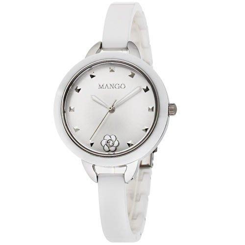 MANGO 陶瓷時尚腕錶 女錶 山茶花陶瓷錶 白色 MA6689L-80
