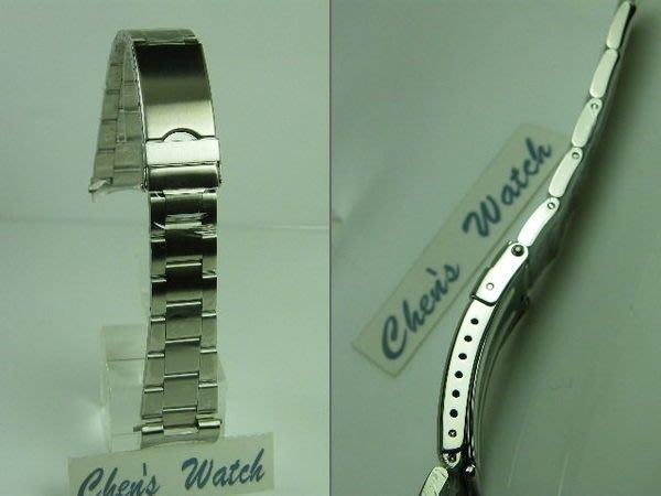 錶帶屋  24mm 彎頭不銹鋼安全扣錶帶 三板拉銀絲面實心鋼帶 現貨商品