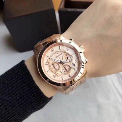 MICHAEL KORS MK8096手錶圓形錶盤玫瑰金三眼計時中性錶/男女錶/正品/保固