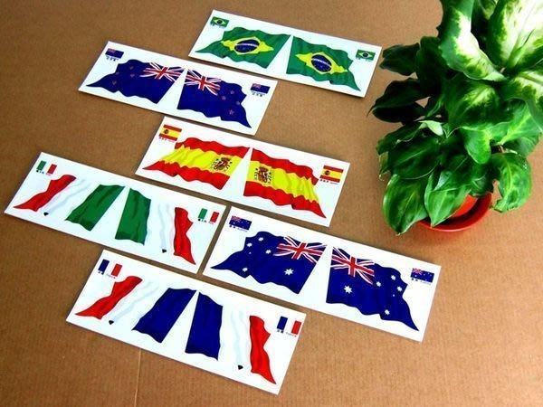 【衝浪小胖】世界各國旗水平翻轉雙飄揚貼紙/抗UV/防水/各國家都有賣和客製