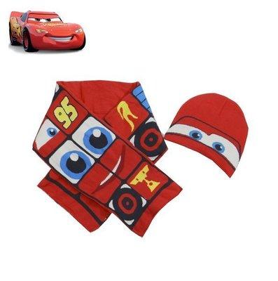出口歐洲CARS閃電麥坤紅色眼睛印花款無綿絮毛線帽+圍巾組(3~6歲適用)防寒大作戰~