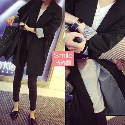 【V2675】SMILE-微風輕拂.反褶袖內條紋排釦西裝外套