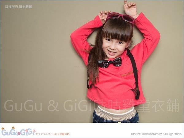 【RG3101510】秋冬款~中性款~假吊帶拉鏈口袋紅色上衣(附蝴蝶結)$68