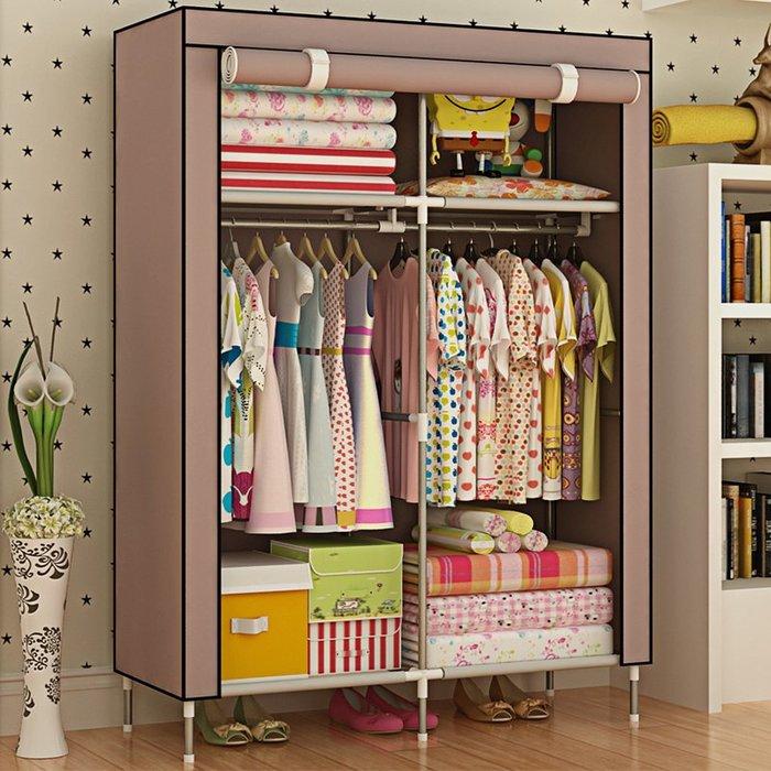 衣櫃加高腳防潮布衣櫃 單人簡易衣櫃 加固防塵兒童衣櫥WY