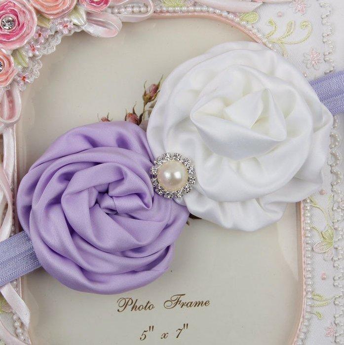 HM嬰幼館【Q199】 2015新款歐美兒童髮帶新生兒嬰兒寶寶髮帶女童女寶公主滿月百日週歲拍照攝影/珍珠雙玫瑰花