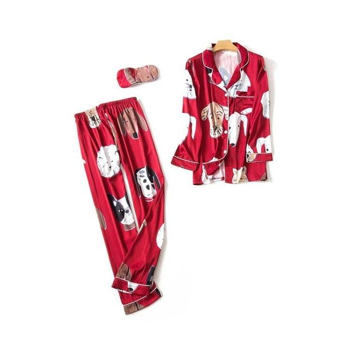 秋季貓狗情侶睡衣秋冬冰絲家居服套裝長袖結婚絲綢卡通可愛 男 女 尚美優品