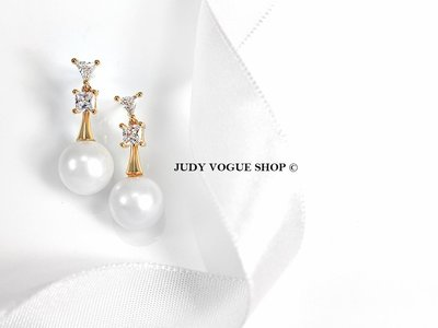 韓國 耳環 歐美簡約個性珍珠耳環 耳針 個性輕奢華 JUDY VOGUE SHOP【JES-0021】