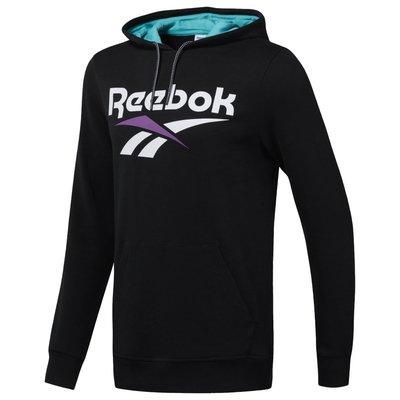 =CodE= REEBOK CLASSIC VECTOR HOODIE 連帽長T(黑白紫) DX3832 套裝 帽T 男