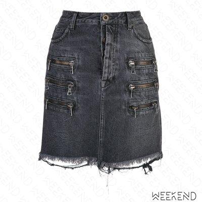 【WEEKEND】 UNRAVEL 破壞 抽鬚 拉鍊 牛仔裙 迷你裙 窄裙 黑色 19秋冬