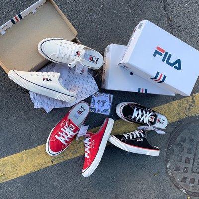 慶豐體育?fila 半拖鞋 帆布鞋 黑 紅 白 軟底 穿搭 ??韓國 餅乾鞋 懶人鞋 休閒鞋