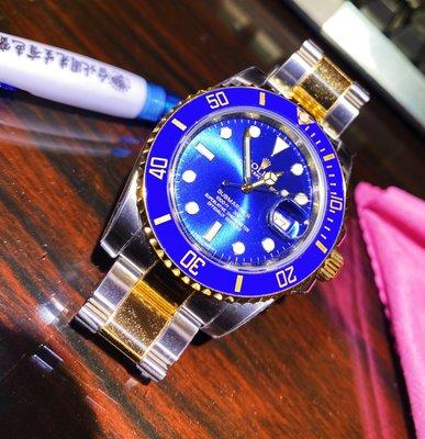 『已賣』 rx8台灣原廠大全配 Rolex勞力士116613LB放射面 半金藍水鬼 2015年國內AD貨 潛航者潛水腕錶