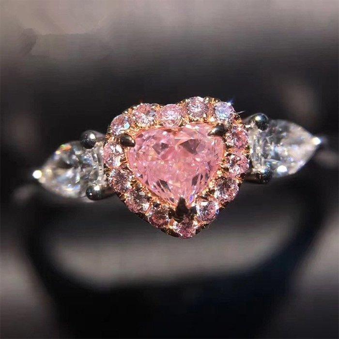 戒指 銀飾 情侶戒 婚戒 純銀925美麗粉色桃心仿真鉆爪鑲鋯石女款新穎戒指水滴鉆玫瑰金