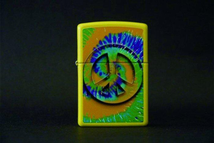 ONE*$1~*美系*ZIPPO* Tye Dye Lemon『和平/反戰*象徵標記』檸檬黃/烤漆*編號:24895