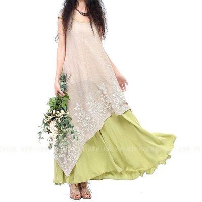刺繡 假兩件套 棉麻衫 洋裝 連身裙 米綠色 文藝 森林系 茶人服裝 短袖 圓領 藝文 中長連衣裙 ~美學達人8393