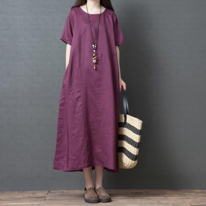半島鐵盒 大尺碼洋裝 夏季新款大碼純色棉麻短袖連身裙胖mm顯瘦長裙