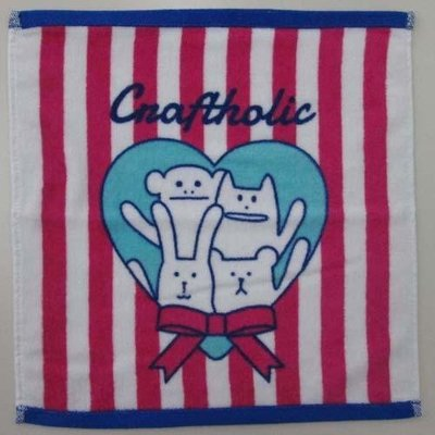 尼德斯Nydus~* 日本正版CRAFTHOLIC 宇宙人 大集合 小毛巾 紅白條紋 愛心 小方巾 34x35 cm