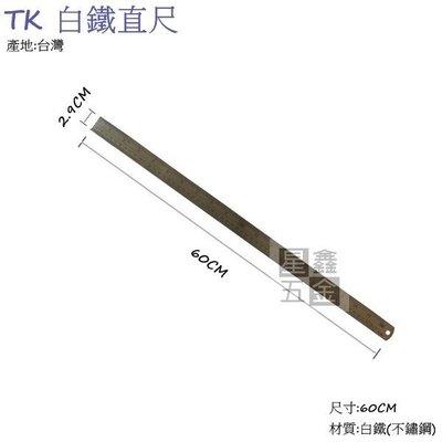 TK 白鐵直尺 不鏽鋼尺 鐵尺 白鐵尺 耐用 尺規 量測 2尺 60cm 台灣製 桃園市