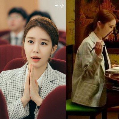 預購-韓劇同款觸及真心劉仁娜吳真心同款衣服白色格子小香風修身套裝西裝外套女-襯衫下標區