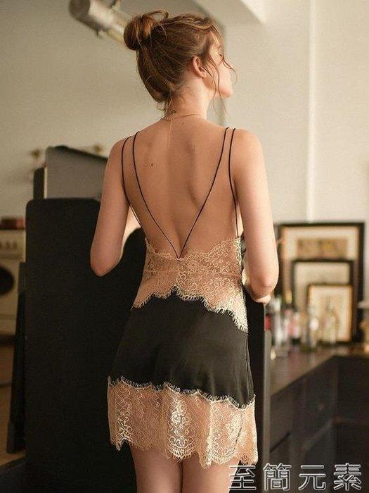 性感睡衣女交叉肩帶蕾絲鏤空誘惑透視吊帶睡裙