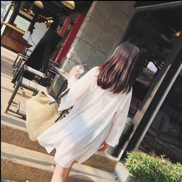 夏季百搭款 女神罩衫 韓版寬鬆雪紡罩衫 大寬袖 條紋防曬衣 開衫長款 長版外套 披肩 薄外套【WJ18】