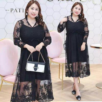 ✿plump girl 韓系✿大尺碼女裝蕾絲淑女黑色連衣裙812L33K268