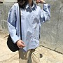 ✿Lu girl 自制霧霾藍襯衫女設計感小眾日系簡約式復古學生長袖襯衣2020春潮新款JU19