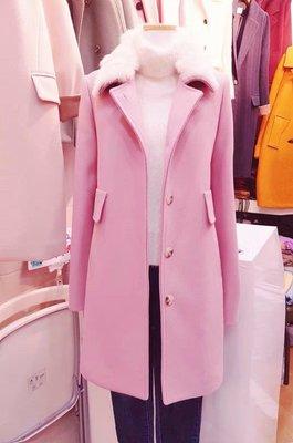 正韓東大門冬天預購款粉紅色超挺保暖長版...