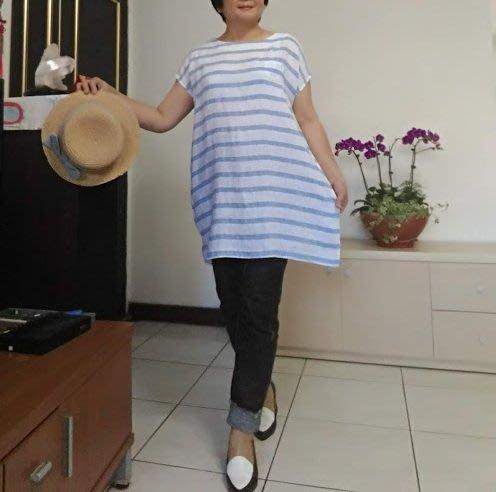 日式原單設計款圓領短袖亞麻上衣(老銀屋)
