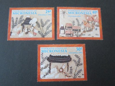 【雲品】密克羅尼西亞[/n]Micronesia 1991 Sc 146-8 Christmas Religion set MNH 庫號#60538