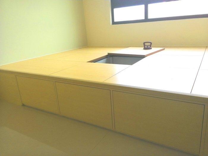 (非實木地板.海島地板 塑膠地板)-收納之唯一好幫手-組合活動架高地板櫃