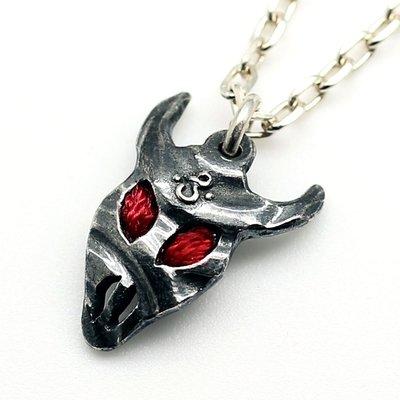 紅牛骷髏純銀吊墜 (輕珠寶,純手工,獨特,雕刻,999純銀,限量製,日本銀黏土,專屬,紀念,生日,禮物,萬聖節,聖誕節)