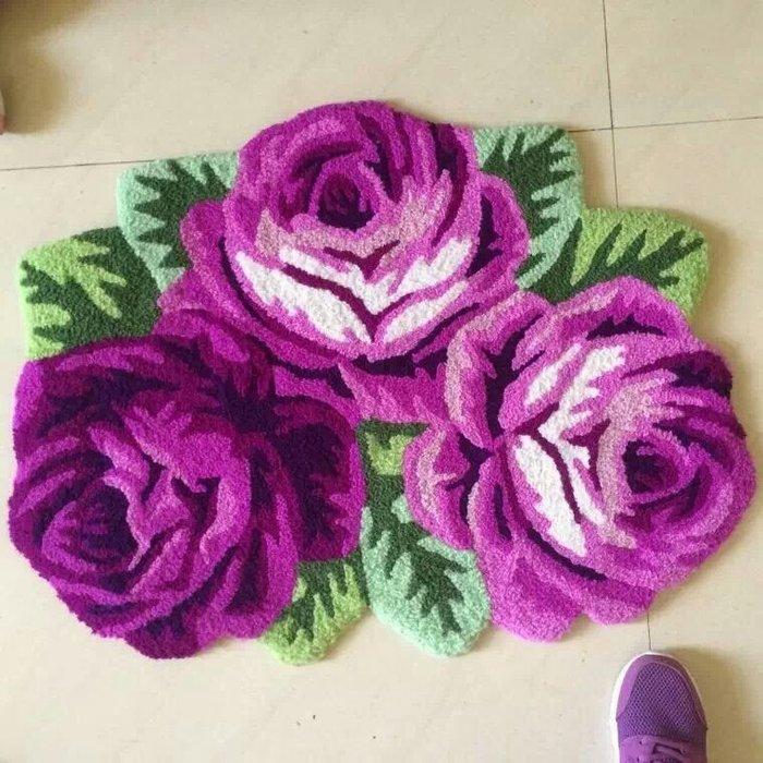 粉紅玫瑰精品屋~田園風格可愛玫瑰花紫色地墊地毯防滑墊~