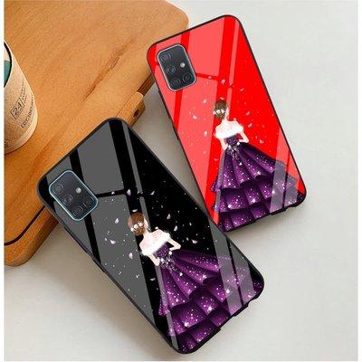 Samsung A71/A51 手機殼 保護套 防摔手機保護套 女神背影玻璃殼 時尚創意 殼 三星保護殼 Galaxy