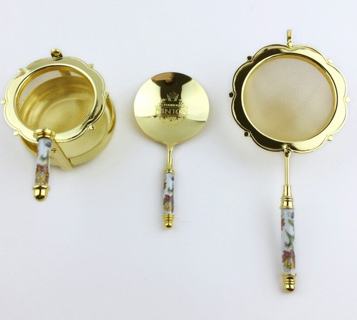 天使熊雜貨小舖~日本帶回MINTON鍍金骨瓷茶濾  日本製  全新現貨