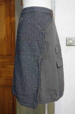 [C.M.平價精品館]145現貨特價/原價1080元百貨專櫃ANY WAY品牌/灰色不同材質拼接有型中長裙