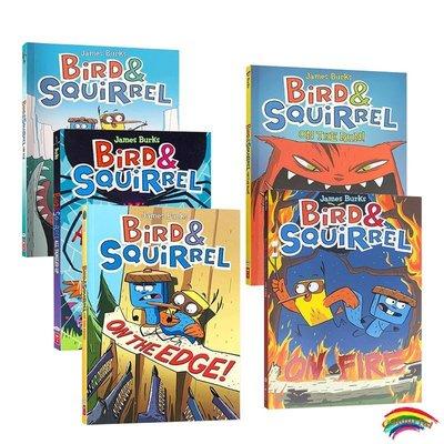 英文原版漫畫 Bird & Squirrel 系列5冊 精彩故事全彩兒童卡通漫畫書 兒童啟蒙英語讀物繪本句型簡單 6-10歲 小鳥與松鼠全彩漫畫書