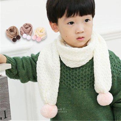 【可愛村】 兒童毛線球保暖針織圍巾 冬季保暖 兒童圍巾