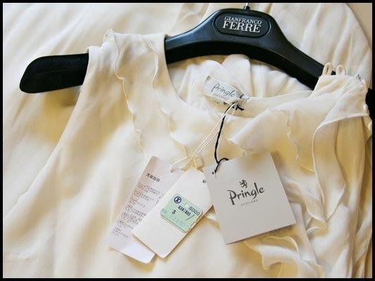 全新原價$22800【Pringle】白標100%純蠶絲削肩純白荷葉邊晚禮服