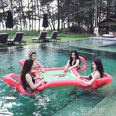 哆啦本鋪 大人水上漂浮圈浮床沙發 游泳池兒童游泳圈浮排 加厚充氣玩具坐騎 D655