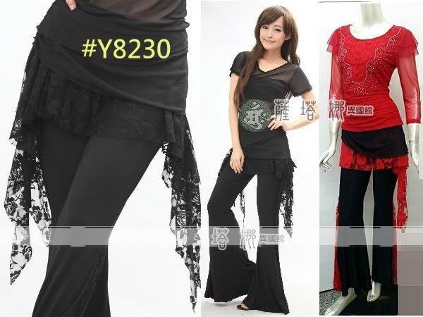 @~薩瓦拉 : M~XL_Y8230_紅色/全黑_網紗抽繩_有裙不可拆水褲/蟑螂褲