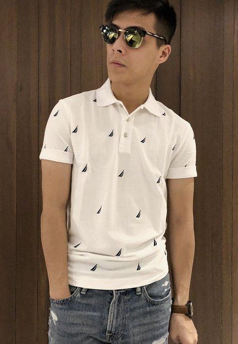 美國百分百【全新真品】Nautica Polo衫 休閒衫 短袖 上衣 帆船牌 網眼 滿版logo 白色 XS號 G393