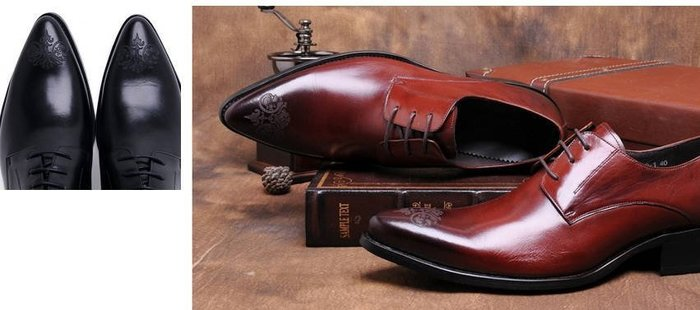 新品男正裝皮鞋牛皮商務英倫尖頭花紋系帶皮鞋真皮鞋跟增高4cm