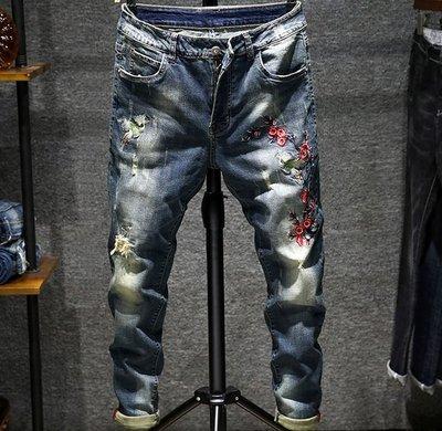 broken jeans破牛仔褲 綉花 彈性  刺繡修身牛仔褲 *OLDNICK老尼克* 01152019-4
