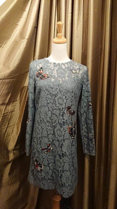 Valentino 藍灰色/蝴蝶貼花全蕾絲洋裝