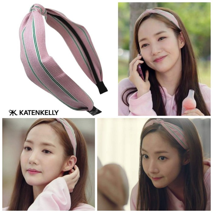 特價【韓Lin代購】韓國 KATENKELLY 金秘書朴敏英同款粉紅綠色線條髮箍 SUMMER STRIPE