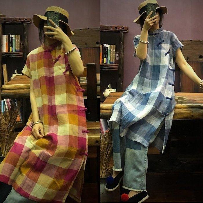 【子芸芳】原創色織棉麻條紋立領盤扣連衣裙
