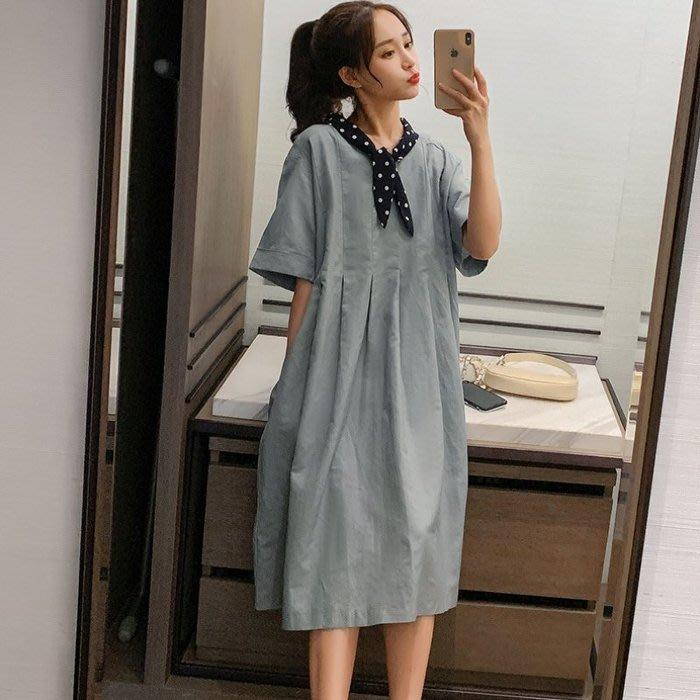 花兒 韓系落肩洋裝 【D8236】 波點 領結 短袖洋裝  中袖 寬鬆 洋裝 長裙
