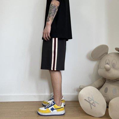 「尤嘉小鋪」 王源夏季側邊織帶條紋褲休閒情侶寬松利路修同款褲子五分運動短褲H6M59